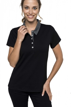 Polo jersey  bicolore Femme 180gr 65% polyester 35% coton