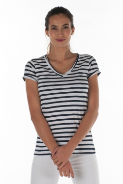 T-shirt V-neck 120 gr slub yarn 100 % coton